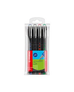 STABILO BL@CK ROLLERBALL PEN 0.4MM ASSORTED PACK 4