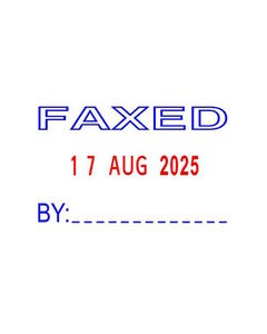 DESKMATE RECYCLED SELF-INKING STAMP FAXED BY DATE BLUE/RED