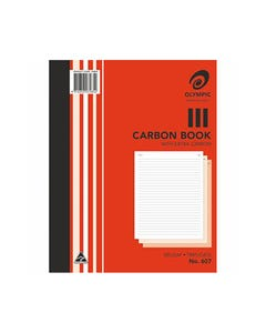 OLYMPIC 607 CARBON BOOK TRIPLICATE FAINT RULED 100 LEAF 250 X 200MM