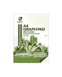 OLYMPIC GH225 GRAPH PAD 2MM SQUARES 70GSM 25 LEAF A4