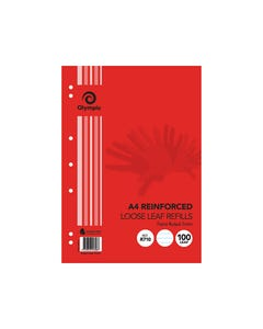 OLYMPIC A4 REINFORCED LOOSE LEAF REFILL 7MM FEINT RULED 55GSM PACK 100