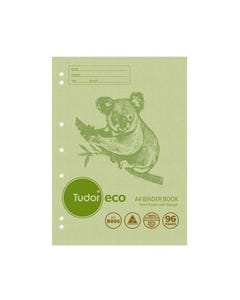 TUDOR B896 ECO BINDER BOOK 8MM RULED 52GSM 96 PAGE A4 GREEN KOALA