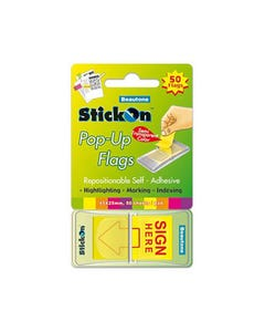 STICK ON POP UP SIGN HERE FLAGS 30 SHEETS 45 X 25MM YELLOW