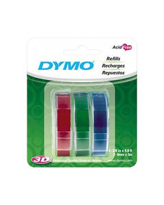 DYMO 1741671 EMBOSSING LABELLING TAPE GLOSSY 9MM X 3M RED/GREEN/BLUE PACK 3