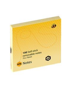 MARBIG REPOSITIONAL NOTES 100 SHEET 75 X 75MM YELLOW PACK 12