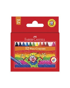 FABER-CASTELL WAX CRAYONS ASSORTED BOX 12