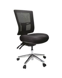 BURO METRO II 24/7 OFFICE CHAIR MESH HIGH BACK 3-LEVER POLISHED ALUMINIUM BASE BLACK