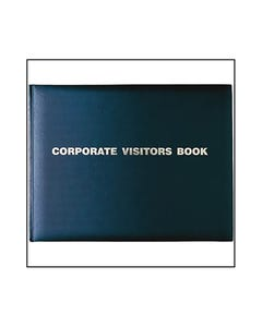 COLLINS CORPORATE VISITORS BOOK 192 PAGE 300 X 200MM GOLD BLOCKED BLACK