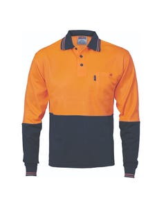 DNC Long Sleeve Hi-Vis Two Tone Fluoro Polo 3816