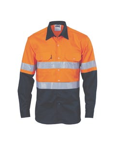 DNC Long Sleeve Hi-Vis Cool-Breeze Vertical Vented Cotton Shirt with Generic R/Tape 3984