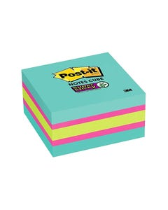 POST-IT 2027-SSAFG SUPER STICKY MEMO CUBE 76 X 76MM ASSORTED COLOURS