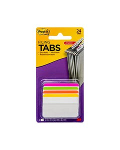 POST-IT 686A-1BB DURABLE ANGLED FILING TABS BRIGHT ASSORTED PACK 4