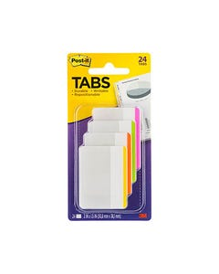 POST-IT 686F-1BB DURABLE FILING TABS FLAT BRIGHT COLOURS PACK 24