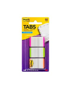 POST-IT 686L-PGO DURABLE FILING TABS 25MM WHITE WITH PINK/GREEN/ORANGE PACK 66