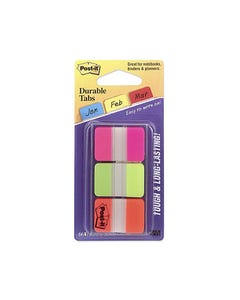 POST-IT 686-PGO DURABLE TABS 3 COLOURS PINK GREEN ORANGE PACK 66