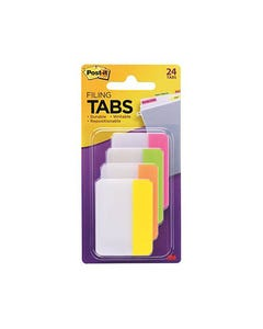 POST-IT 686-PLOY DURABLE TABS 50 X 38MM, 6 TABS EACH PINK, LIME, ORANGE AND YELLOW