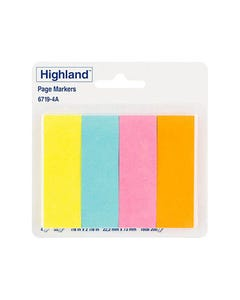 HIGHLAND PAGEMARKERS 50 SHEETS PER PAD YELLOW, BLUE, PINK, ORANGE PACK 4