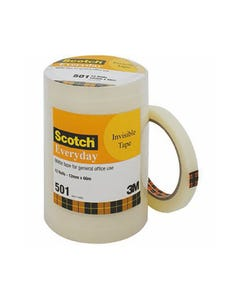 SCOTCH 501 EVERYDAY INVISIBLE TAPE 12MM X 66M BULK PACK 12