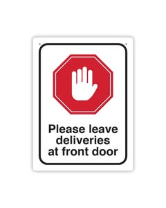 Social Distance Wall Sign - 'Please leave deliveries at front door'