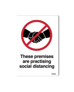 Window Decals - 'These premises are practicing social distancing' Pack of 2