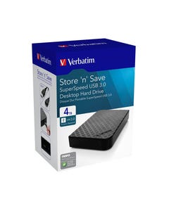 VERBATIM STORE-N-SAVE GRID DESIGN USB 3.0 DESKTOP HARD DRIVE 4TB BLACK