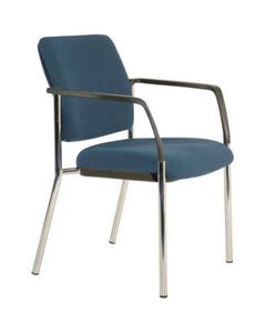BURO LINDIS 4-LEG VISITOR CHAIR UPHOLSTERED BACK WITH ARMS JETT FABRIC DARK BLUE