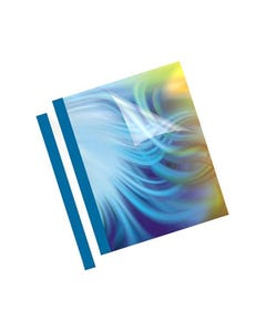 FELLOWES THERMAL BINDING COVER 1.5MM A4 BLUE BACK / CLEAR FRONT PACK 100