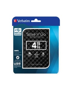 VERBATIM STORE-N-GO GRID DESIGN USB 3.0 PORTABLE HARD DRIVE 4TB BLACK