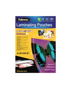 FELLOWES SUPERQUICK LAMINATING POUCH GLOSS 80 MICRON A4 CLEAR PACK 100