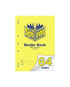 SPIRAX 120 BINDER BOOK 8MM RULED A4 64 PAGE