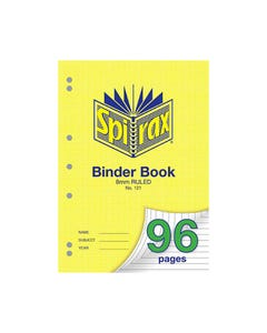 SPIRAX 121 BINDER BOOK 8MM RULED A4 96 PAGE