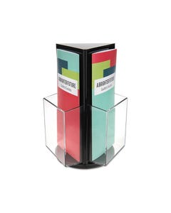 DEFLECTO BROCHURE HOLDER COUNTER TOP ROTATING 3 SIDED DL WHITE