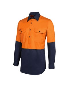 JB's Wear Hi-Vis Long Sleeve 190G Close Front Shirt 6HVCF