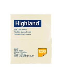 HIGHLAND SELF-STICK NOTES 76 X 127MM YELLOW PACK 12