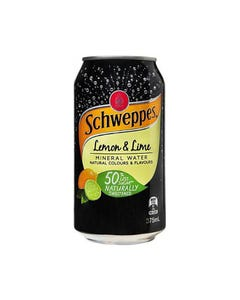 SCHWEPPES LEMON AND LIME MINERAL WATER CAN 375ML CARTON 24