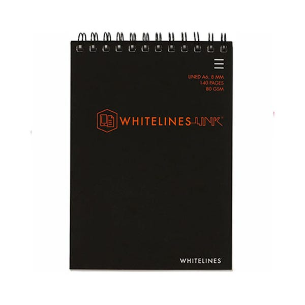 WHITELINES SPIRAL NOTEPAD 8MM RULED 80GSM 140 PAGE A6 PACK 5