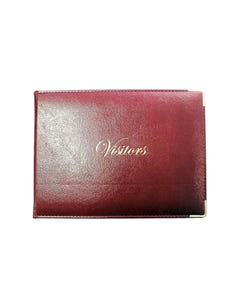 CUMBERLAND VISITORS BOOK PU PADDED STITCHED 155 X 210MM BURGUNDY WITH GOLD CORNERS AND GOLD PRINT