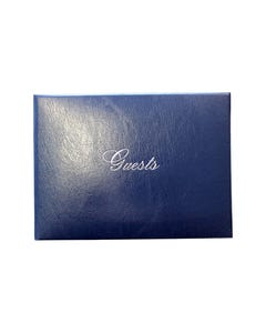 CUMBERLAND GUEST BOOK CASEBOUND PADDED COVER WITH SILVER EDGED PAPER 96 PAGE 160 X 210MM NAVY
