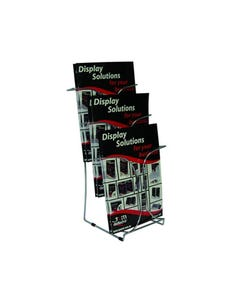 DEFLECTO BROCHURE HOLDER CHROME STEEL SERIES 3 TIER A4 SILVER