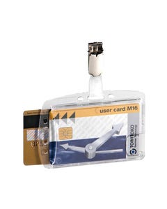 DURABLE ACRYLIC SECURITY PASS HOLDER DUO WITH ROTATING CLIP BOX 25