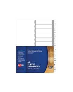 AVERY 85612 L7411-12 DIVIDER 1-12 INDEX TAB A4 WHITE