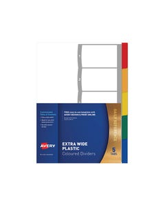 AVERY 85665 L7411-5 DIVIDER EXTRA WIDE 5 TAB A4 MULTI COLOURED