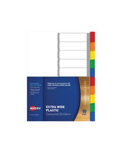 AVERY 85670 L7411-10 DIVIDER EXTRA WIDE 10 TAB MULTI COLURED