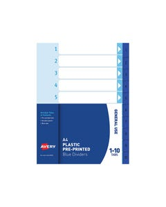 AVERY 85810 DIVIDER 1-10 INDEX TAB A4 BLUE