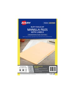 AVERY 88300 MANILLA FOLDER WITH 24 LASER TITLE LABEL FOOLSCAP BUFF PACK 20