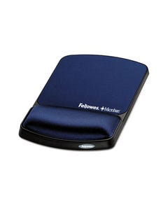 FELLOWES MOUSE PAD AND WRIST REST MICROBAN MEMORY FOAM LYCRA BLUE