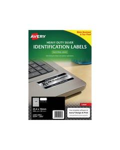 AVERY 959200 L6008 DURABLE METALLIC HEAVY DUTY LABELS 189UP SILVER PACK 20