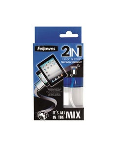 FELLOWES 2IN1 SCREEN CLEANER AND MICROFIBRE CLOTH SPRAY BOTTLE 50ML