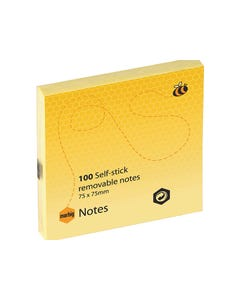 MARBIG REPOSITIONAL NOTES 100 SHEET 75 X 75MM YELLOW