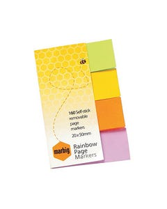 MARBIG NOTES RAINBOW PAGE MARKERS 160 SHEET 20 X 50MM ASSORTED